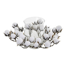 Nearly Natural Cotton Artificial Arrangement Candelabrum Home Decor White 12 in - $42.94