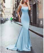 Sky Blue Satin Mermaid Prom Dress Sweep Train Back Open Sexy Women Party... - $148.99