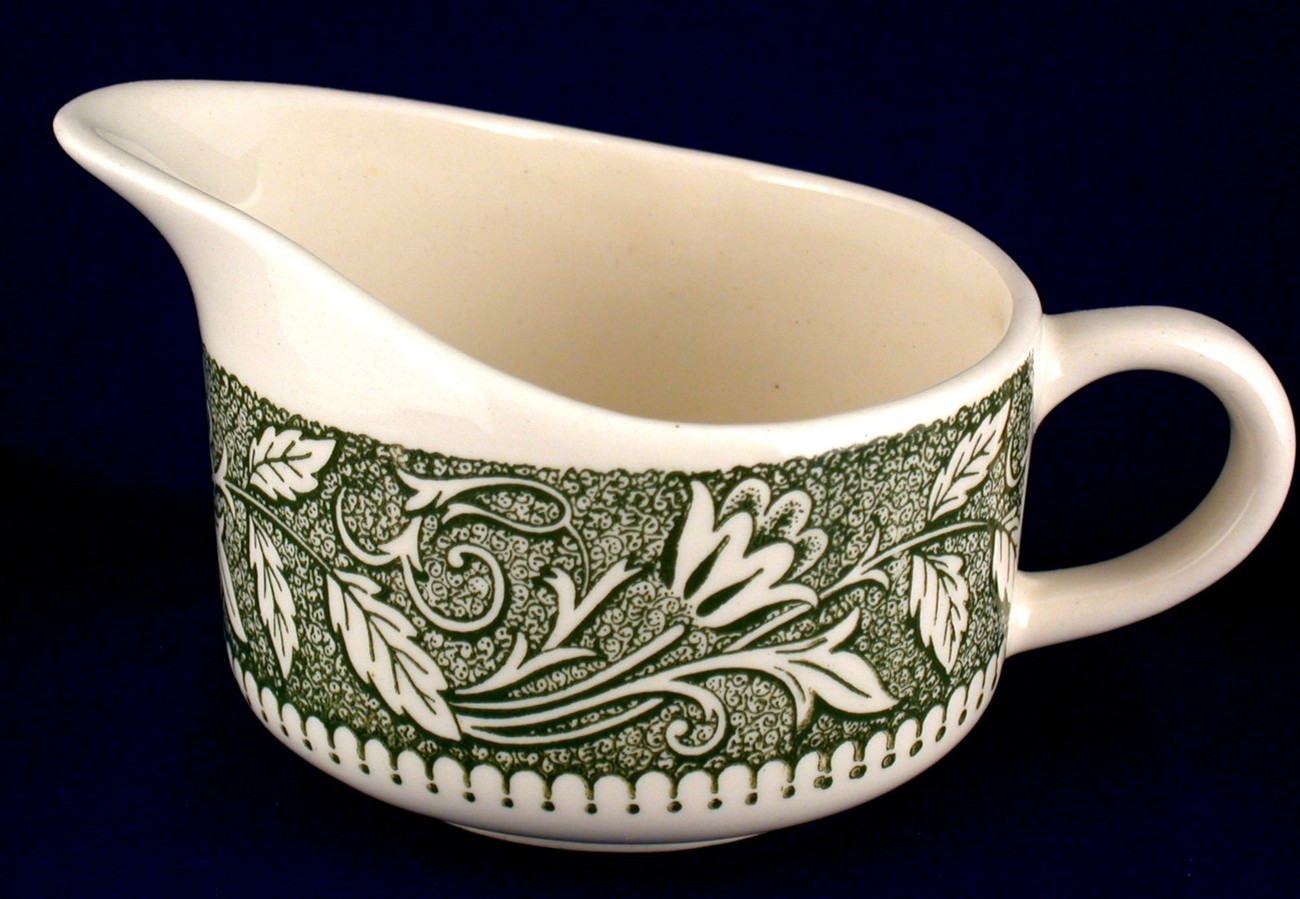 Royal creamer w green pattern