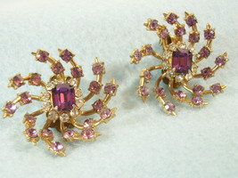 CORO Pink Lavender Rhinestone SWIRL SPIKEY Clip Earrings Gold Plt VINTAG... - $26.68