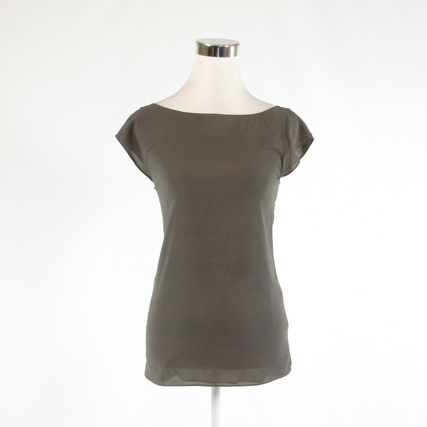 Primary image for Gray black silk blend ALICE + OLIVIA Base cap sleeve blouse XS