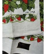LOT vintage 2 UNUSED lois long STRAWBERRY LINEN KITCHEN TOWELS kaydee ta... - $68.95