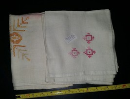 Vintage Mixed Color Cross Stitch Table Linens 33x33 tablecloth 3 15x14.5... - $14.99