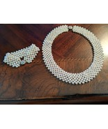 Vintage 1980s Woven Faux Pearl Collar Style Necklace and Bracelet from J... - $29.00