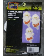 3 inflatable Ghosts with eyelets for hanging White Boo Halloween Decorat... - $1.99