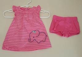 Carters Newborn Dress Pink Elephant Diaper Cover 2 Pc Summer Outfit Just... - $9.85