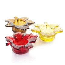 Yankee Candle Votive Candle Holders YCF291 Glass Autumn Colors ~ Set of 3 - $16.95