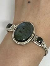 Vintage Blue Labradorite 925 Sterling Silver Toggle Bracelet - $163.35