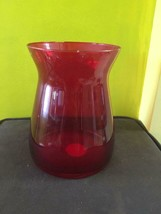 Vintage Indiana Red Glass Vase Plain Design Round Base Sloped Top Made In Usa - $59.39