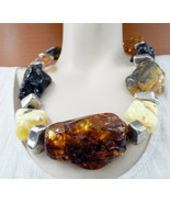 BALTIC AMBER NECKLACE GENUINE RAW GIANT AMBER STERLING SILVER BEADS UNIQ... - $4,900.00