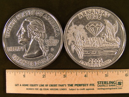"""Big 3"""" Inch Metal Coin Replica of a 2003 Issue Arkansas State Quarter - $6.75"""