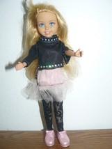 2004 Mattel Girl Doll in black long sleeve blouse, black net pants w/ pink tutu - $4.95