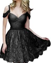 Womens Short Lace Homecoming Dresses Off Shoulder Beaded Straps Prom Par... - $125.99