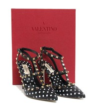 New $1045 Valentino Rockstud Polka Dot Leather Anke Strap Pumps 37.5 Shoes - $779.10