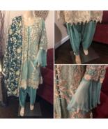 Pakistani Sea Green Gold A Line Style Fancy Embroidered 3-Pc Chiffon Sui... - $128.70