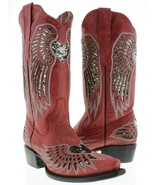 Womens Cowboy Boots Heart Wing Red Leather Inlay Silver Sequins Snip Toe... - $96.03