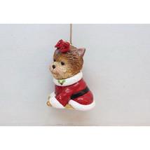 Yorkie w/Santa Jacket & Red Bow Glass Ornament - $19.95