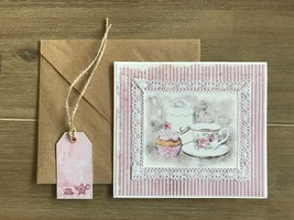 Greeting card for Mother's day, Pink white beautiful greeting card,Handm... - $8.99