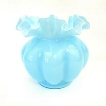 Vintage Blue FENTON Glass MELLON ROSE BOWL VASE With Ruffled Edge - $34.65