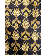 HALSTON Black & Gold Beauty  Mens 100 Necktie SILK 8-54 - $16.99