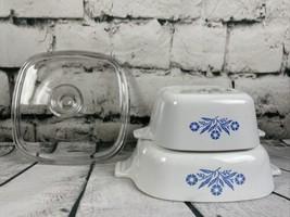 Corning Ware Blue Cornflower P-1 -B 1 Quart Casserole Dish (1)Lid & 22 oz P-43-B - $24.70