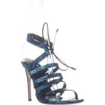 Sergio Rossi A77670 Strappy Lace Up Sandals, Fantasy Elaphe Turchese, 8.... - $471.35