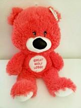 Great Wolf Lodge Teddy Bear Fiesta Coral Pink White Big Head Black Nose GWL - $24.73