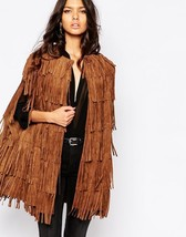 WOMEN'S NEW IN FASHION FRINGES SUEDE LEATHER CAPE PONCHO BOHO HIPPY SHAWL WC132 image 1