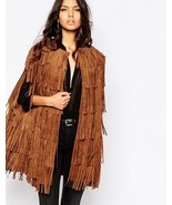 WOMEN'S NEW IN FASHION FRINGES SUEDE LEATHER CAPE PONCHO BOHO HIPPY SHAW... - $299.00