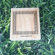 Stampin' Up! Striped Dotted Frame Rubber Stamp 1999 Wooden Mounted  - $9.40