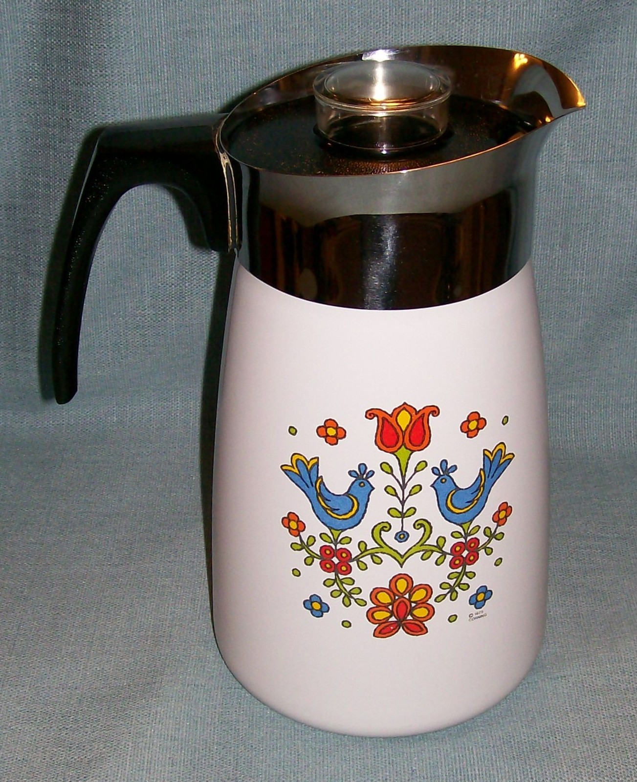 Vtg Corning COUNTRY FESTIVAL Friendship Stove Top 10 Cup Percolator P149 Birds image 4