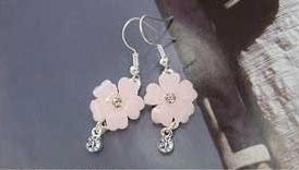 Beautiful Pink Flower Crystal Silver Dangle Earrings