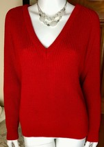 Vtg 80s Collections Women Sz S Red Sweater Long Sleeve V-Neck Pullover R... - $19.77