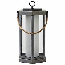 "Stone & Beam Rustic Faux Wood Finish Lantern with Bulb, 14""H - $76.70"
