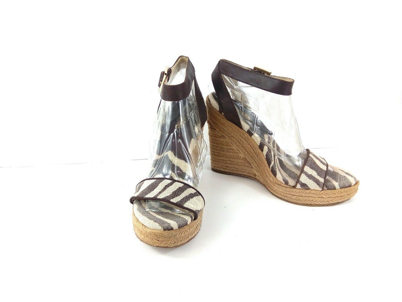 Michael Kors Violet Women's Espadrille Sandals Zebra Brown/Tan Platform Heel 10M - $39.42