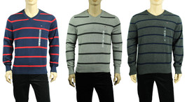 NEW MENS TOMMY HILFIGER V NECK STRIPED PIMA COTTON PULLOVER SWEATER - €23,12 EUR