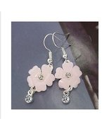 Beautiful Pink Flower Crystal Silver Dangle Earrings - $2.00