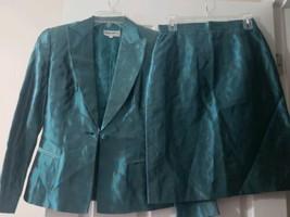 Women's Giorgio Armani Le Collezioni Silk Skirt Suit Teal w/ Gold Size 6 Jacket image 2