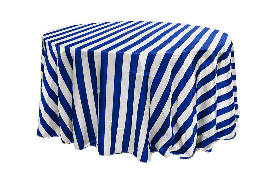 Satin Tablecloth Royal Blue/White Striped 132 inch Round - $49.99