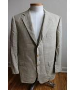 Hickey Freeman 40 Short Wool Linen Brown Houndstooth 2-Button Blazer - $52.72