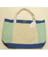 NWT $200 Tommy Bahama Cabana Collection Large Canvas Tote Bag in Blues O... - $48.50