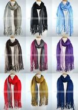 Winter Thick Scarf Warm Knit Tassel Fringe Fishnet Net Two Color Design ... - $10.35