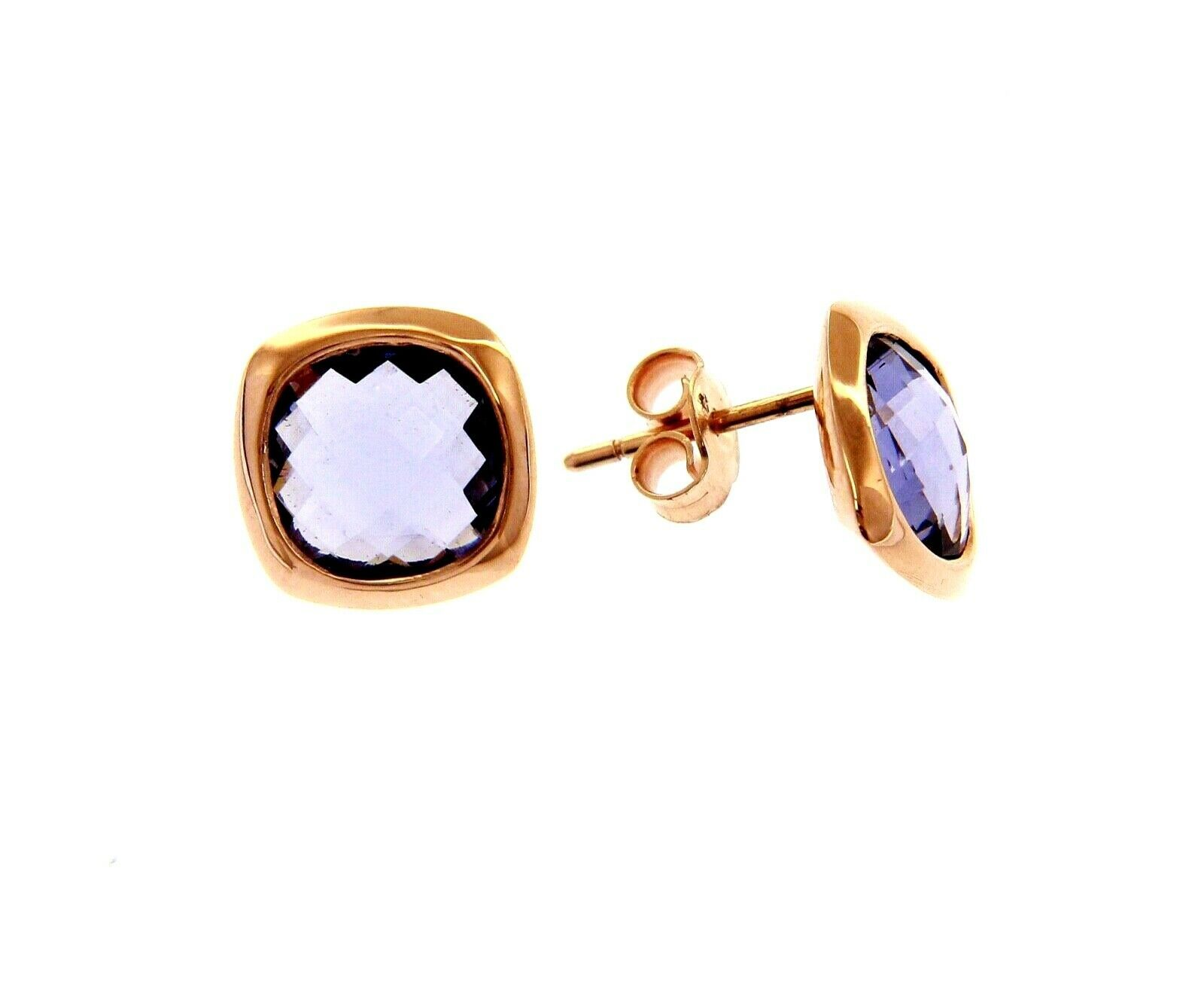 18K ROSE GOLD LOBE EARRINGS BUTTON WITH PURPLE SQUARE CRYSTAL CUSHION CUT