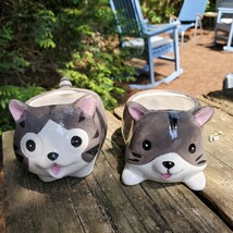 "Grey Cat Planters, Ceramic set of 2 Animal Pots, Kitten Kitty Plant Pot 5"""