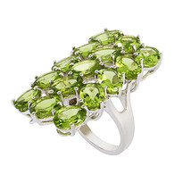Three Row Peridot Gemstone Long Full Finger Statement Ring 925 Sterling ... - $78.82