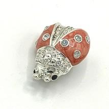 LC Liz Claiborne Ladybug Rhinestone Enameled Brooch Pin Silver Tone - $13.98