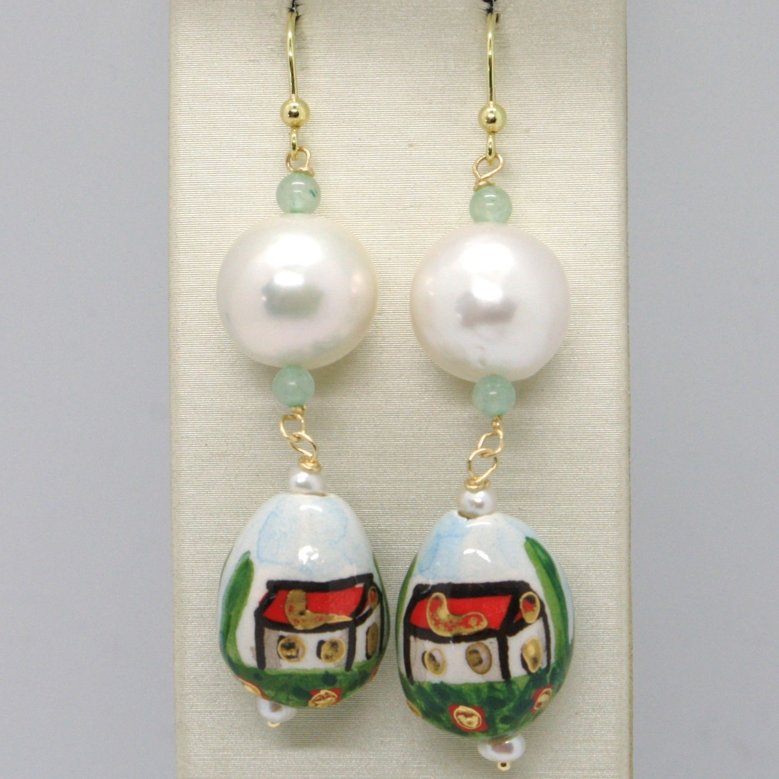 YELLOW GOLD EARRINGS 750 18K PEARLS FW AND DROP HAND-PAINTED MADE IN ITALY