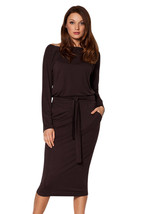 Coffee Roll-tab Long Sleeve Tie Waist Midi Dress  - $22.84