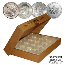 50 IKE EISENHOWER DOLLAR Direct-Fit Air 38mm Coin Capsule Holder QTY: 50... - $19.75