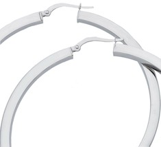 18K WHITE GOLD CIRCLE EARRINGS DIAMETER 50 MM WITH SQUARE TUBE     MADE IN ITALY image 1